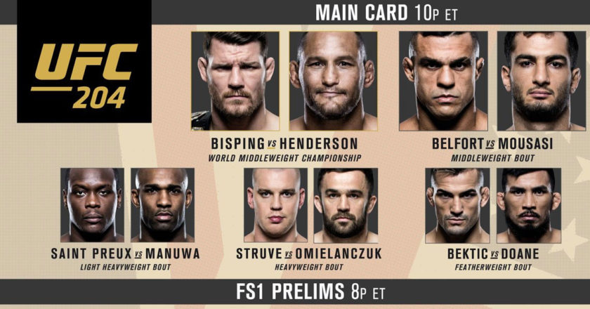 UFC 204 Fight Card Bisping vs Henderson