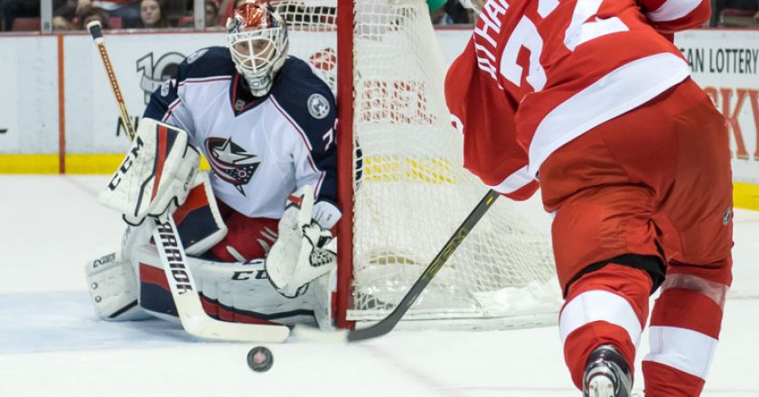 Blue Jackets #72 Sergei Bobrovsky Red Wings #72 Andreas Athanasiou